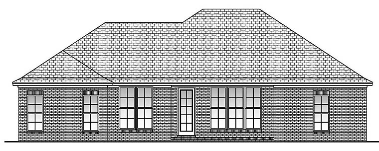 Acadian Country European French Country Rear Elevation of Plan 56973