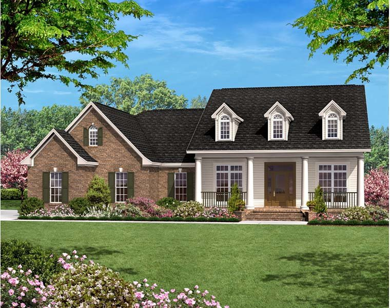 Country Ranch Traditional House Plan 56978 Elevation