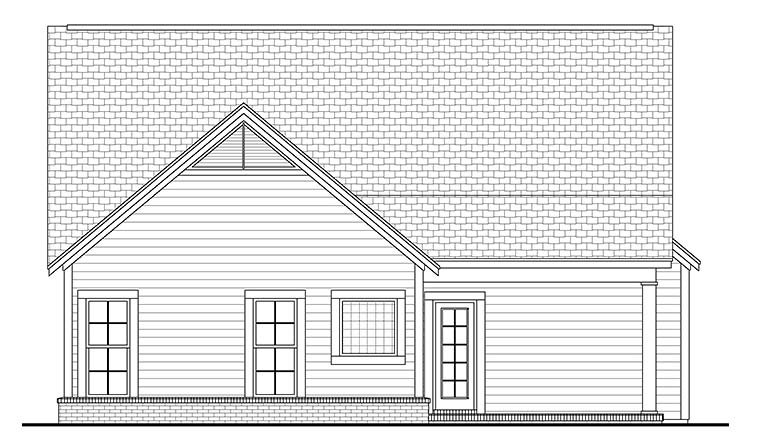 Bungalow Cottage Country Craftsman Southern House Plan 56980 Rear Elevation