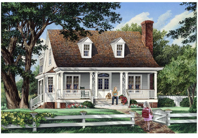 Cottage Country Farmhouse Traditional House Plan 57044 Elevation