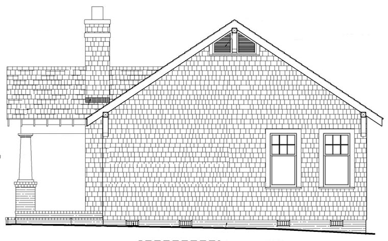 Bungalow Craftsman House Plan 57064 Rear Elevation