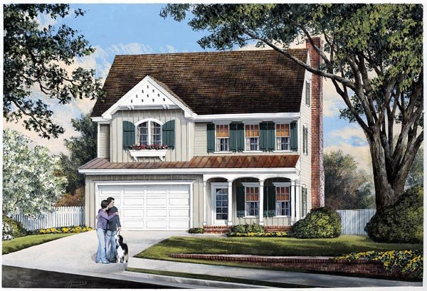 Farmhouse, Traditional House Plan 57066 with 3 Beds, 3 Baths Elevation