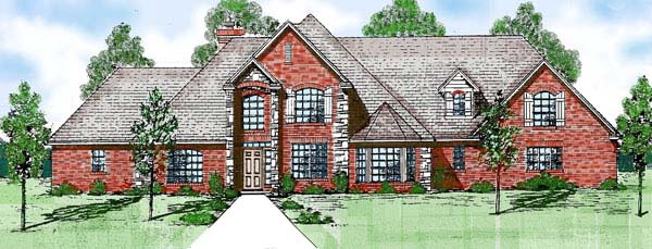 Victorian House Plan 57164 with 4 Beds, 5 Baths, 3 Car Garage Elevation