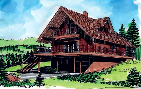 A-Frame House Plan 57340 Elevation
