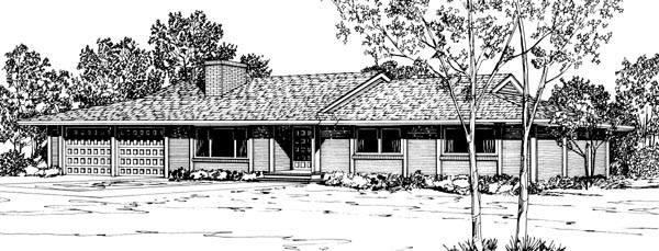 One-Story, Ranch House Plan 57342 with 3 Beds, 2 Baths, 2 Car Garage Elevation