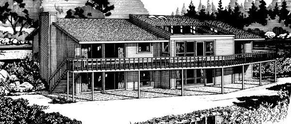 Ranch House Plan 57382 Rear Elevation
