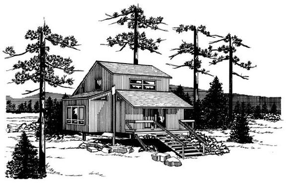Narrow Lot House Plan 57389 with 1 Beds, 1 Baths Elevation
