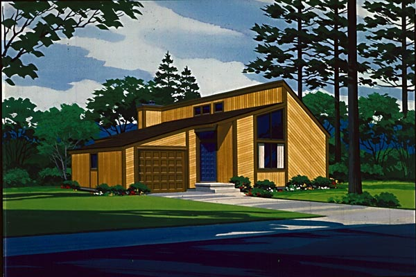 Contemporary House Plan 57419 with 1 Beds, 1 Baths, 1 Car Garage Elevation
