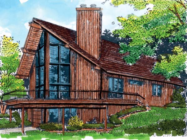 Elevation of A-Frame   Narrow Lot   Vacation   House Plan 57438
