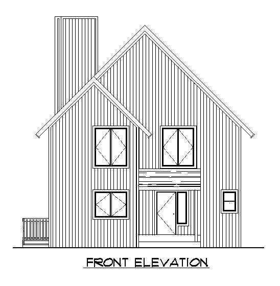 Rear Elevation of A-Frame   Narrow Lot   Vacation   House Plan 57438