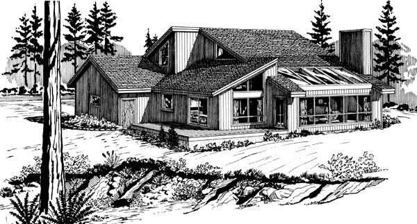 Contemporary House Plan 57447 Rear Elevation