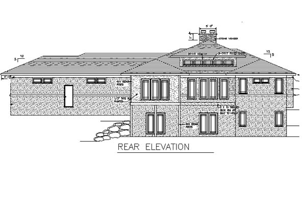 One-Story House Plan 57463 with 1 Beds, 2 Baths, 3 Car Garage Rear Elevation