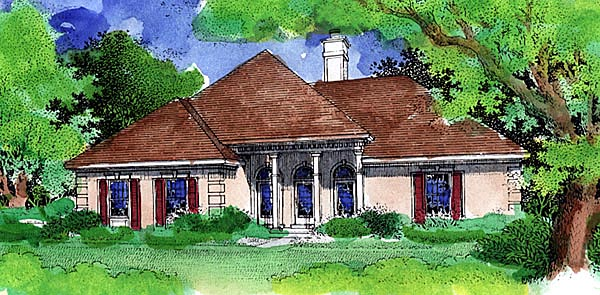 European House Plan 57469 Elevation
