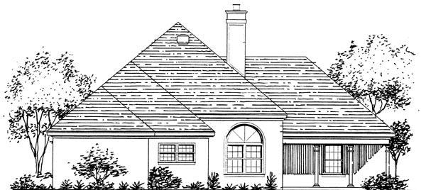 European House Plan 57469 Rear Elevation