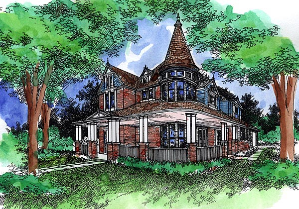 Elevation of Victorian   House Plan 57494