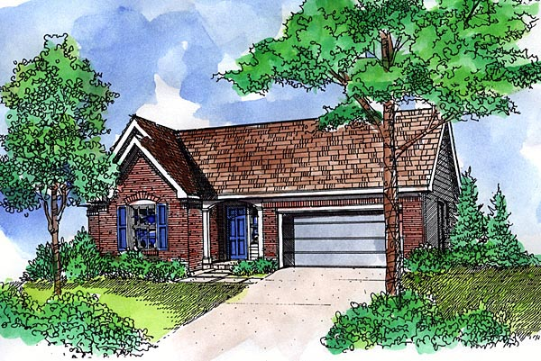 One-Story, Ranch House Plan 57520 with 3 Beds, 2 Baths, 2 Car Garage Elevation