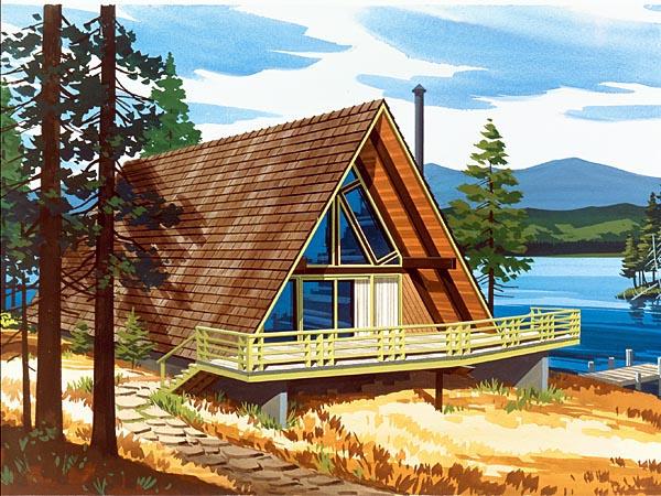 A-Frame Contemporary Retro House Plan 57544 Elevation