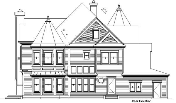 Country Victorian House Plan 57563 Rear Elevation