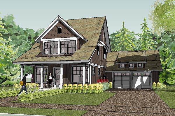 bungalow cape cod cottage craftsman farmhouse traditional house plan 57600 elevation - Cape Cod Craftsman