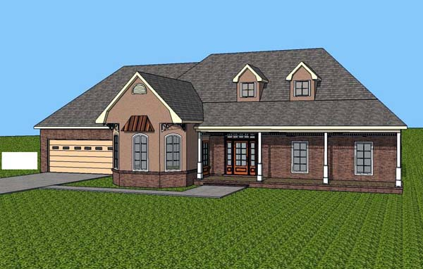 Contemporary , Southern House Plan 57700 with 3 Beds, 2 Baths, 2 Car Garage Elevation