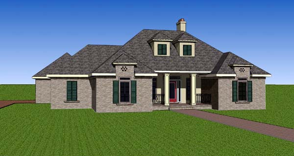 Contemporary Southern House Plan 57741 Elevation