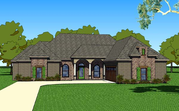 Country, Southern House Plan 57752 with 3 Beds, 3 Baths, 2 Car Garage Elevation