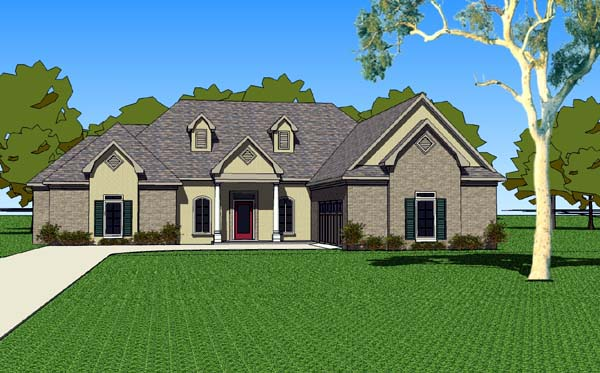 Country, Southern House Plan 57754 with 3 Beds, 3 Baths, 2 Car Garage Elevation