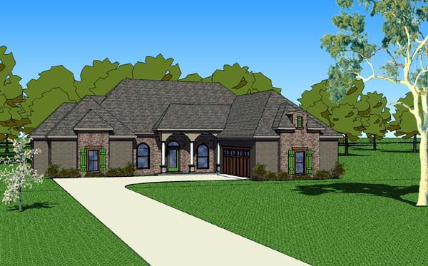 Country, Southern House Plan 57755 with 3 Beds, 3 Baths, 2 Car Garage Elevation