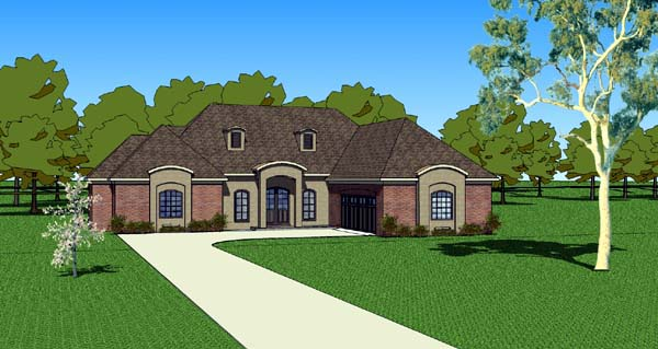 Country, Southern House Plan 57756 with 3 Beds, 3 Baths, 2 Car Garage Elevation
