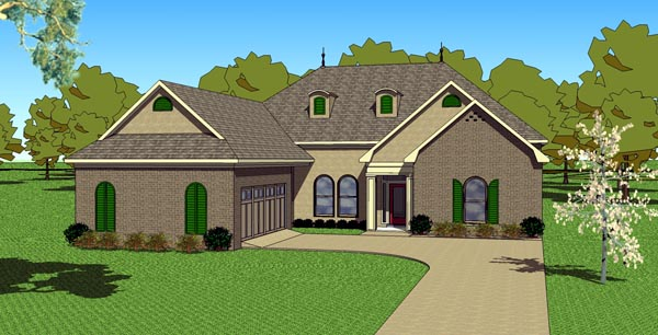 Country European Southern House Plan 57764 Elevation