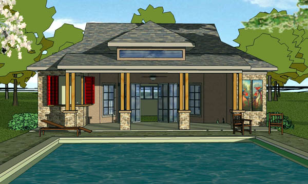 Coastal, Cottage, Craftsman House Plan 57860 with 1 Beds, 2 Baths Elevation