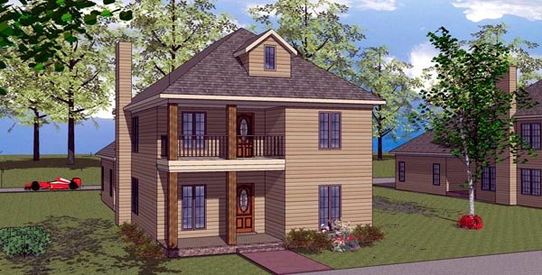 Colonial, Southern House Plan 57869 with 3 Beds, 3 Baths, 2 Car Garage Elevation