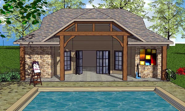 Cottage, Craftsman House Plan 57881 with 1 Beds, 2 Baths Elevation