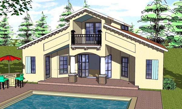 Cottage, Florida, Southern House Plan 57892 with 1 Beds, 2 Baths Elevation
