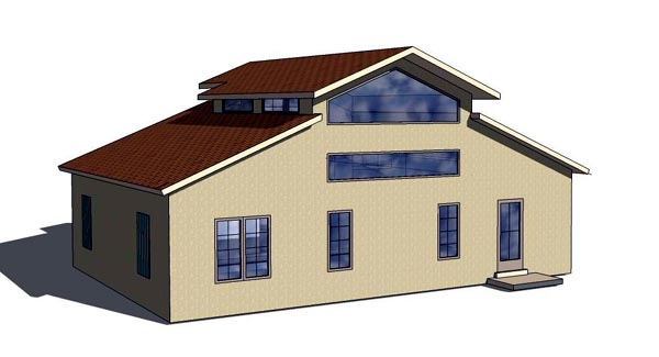 Cottage, Florida, Southern House Plan 57892 with 1 Beds, 2 Baths Rear Elevation