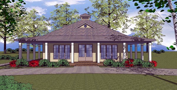 Cottage, Florida, Southern House Plan 57893 with 2 Beds, 2 Baths Elevation