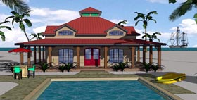 House Plan 57897 | Cottage Florida Southern Style Plan with 1225 Sq Ft, 2 Bedrooms, 2 Bathrooms Elevation