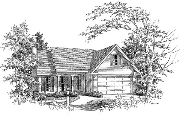 Traditional House Plan 58141 with 3 Beds, 2 Baths, 2 Car Garage Elevation