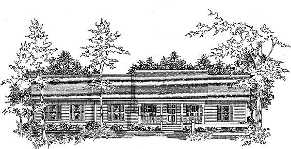 Ranch House Plan 58147 with 3 Beds, 2 Baths, 2 Car Garage Elevation