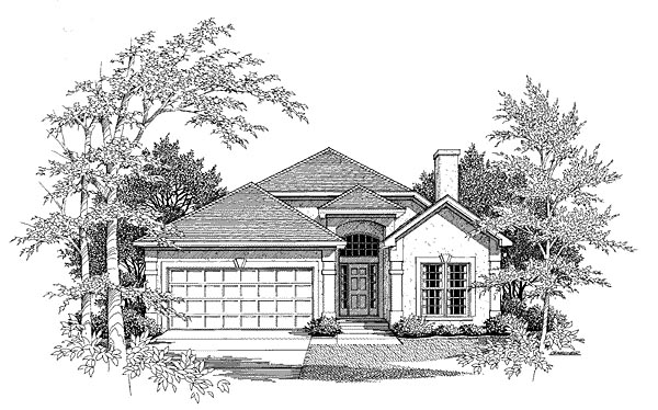 Traditional House Plan 58153 with 2 Beds, 2 Baths, 2 Car Garage Elevation