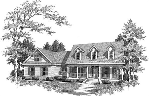 Elevation of Cape Cod   House Plan 58165