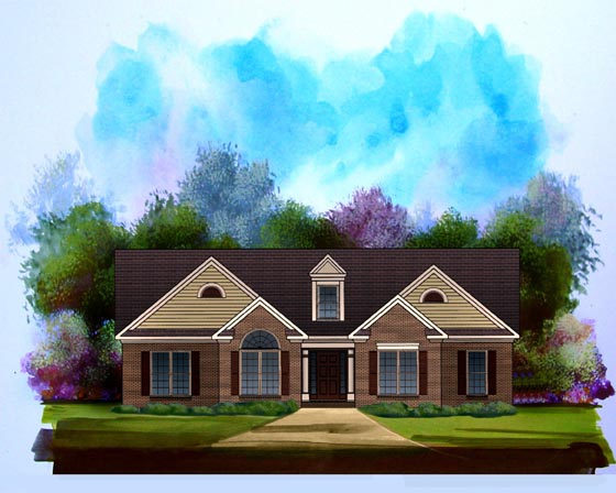 One-Story, Traditional House Plan 58189 with 3 Beds, 2 Baths, 2 Car Garage Elevation