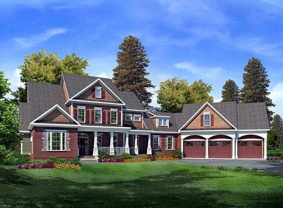 Craftsman House Plan 58204 with 3 Beds, 4 Baths, 3 Car Garage Elevation