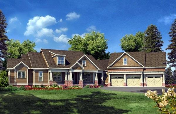 Craftsman House Plan 58232 with 5 Beds, 7 Baths, 3 Car Garage Elevation