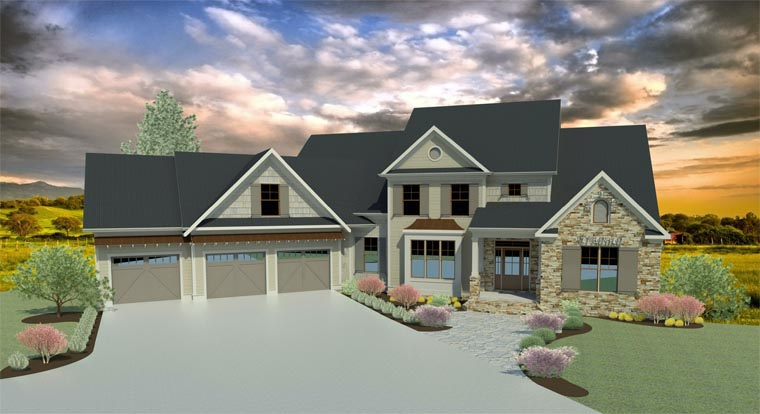 Craftsman, Traditional House Plan 58237 with 5 Beds, 5 Baths, 3 Car Garage Picture 1