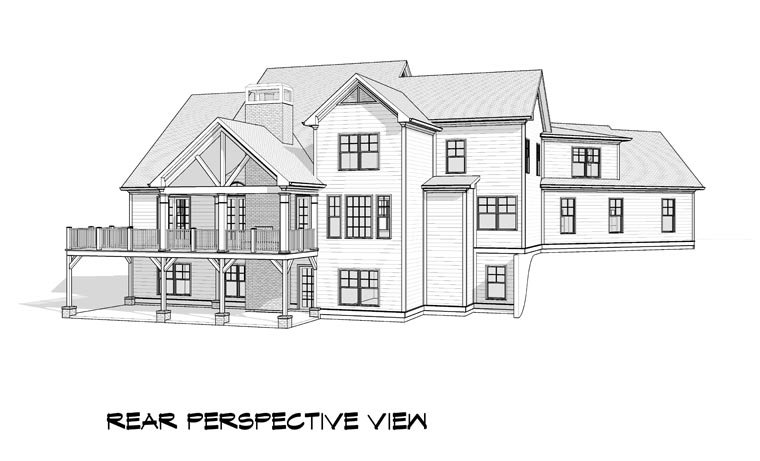 Craftsman Traditional House Plan 58237 Rear Elevation