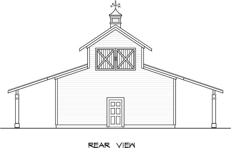 Garage Plan 58244 Rear Elevation