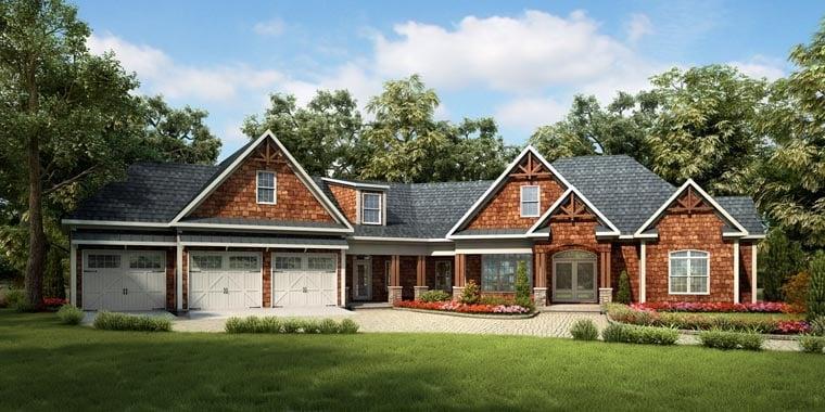 Craftsman, Historic House Plan 58249 with 4 Beds, 5 Baths, 3 Car Garage Elevation