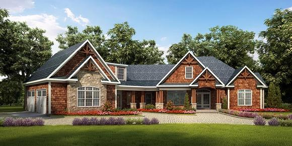Craftsman, Traditional House Plan 58252 with 3 Beds, 4 Baths, 2 Car Garage Elevation