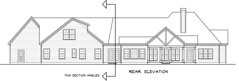 Craftsman Traditional House Plan 58252 Rear Elevation